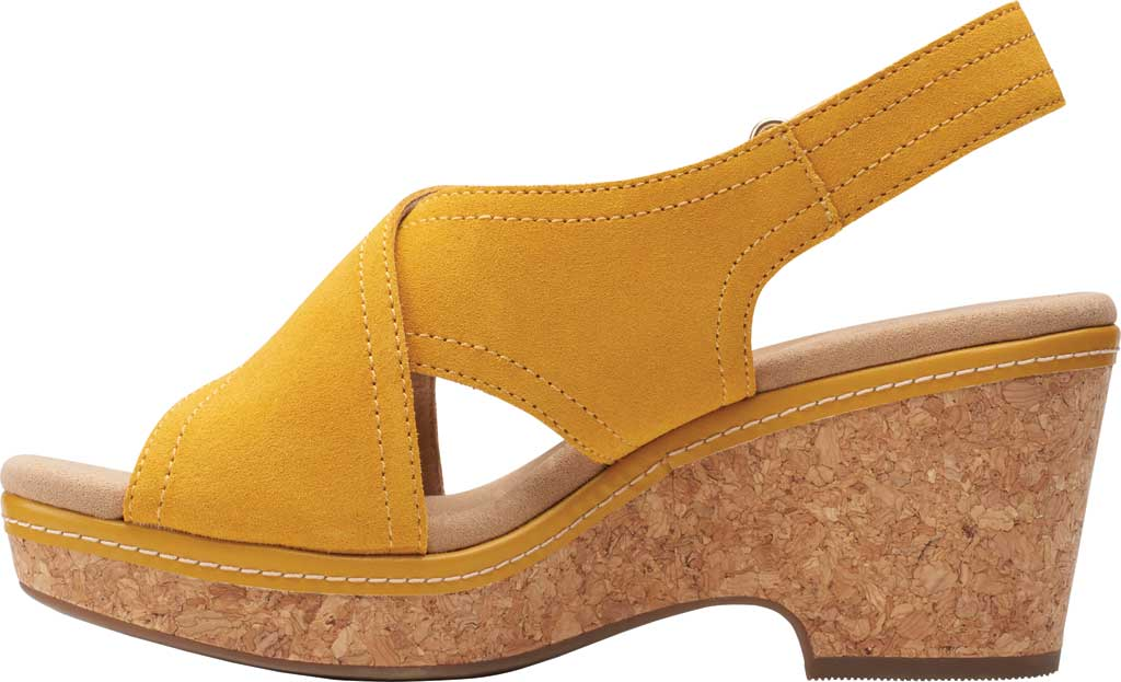 Women's Clarks Giselle Cove Wedge Slingback Sandal, Golden Yellow Suede, large, image 3
