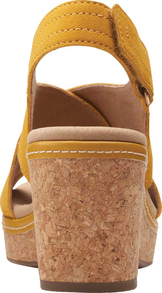 Women's Clarks Giselle Cove Wedge Slingback Sandal, Golden Yellow Suede, large, image 4