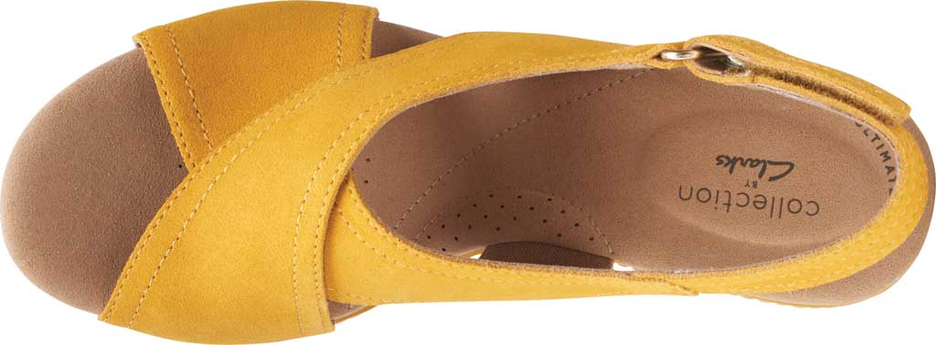 Women's Clarks Giselle Cove Wedge Slingback Sandal, Golden Yellow Suede, large, image 5