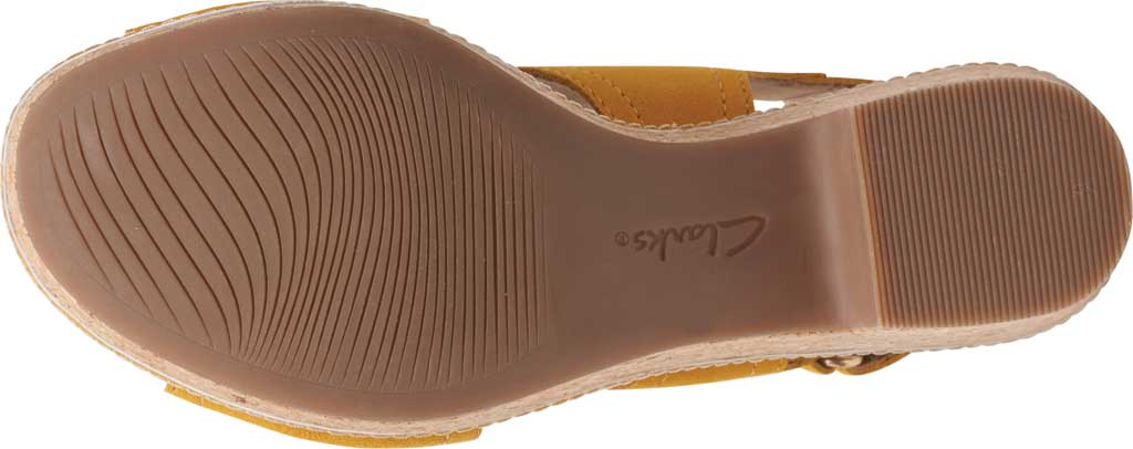 Women's Clarks Giselle Cove Wedge Slingback Sandal, Golden Yellow Suede, large, image 6