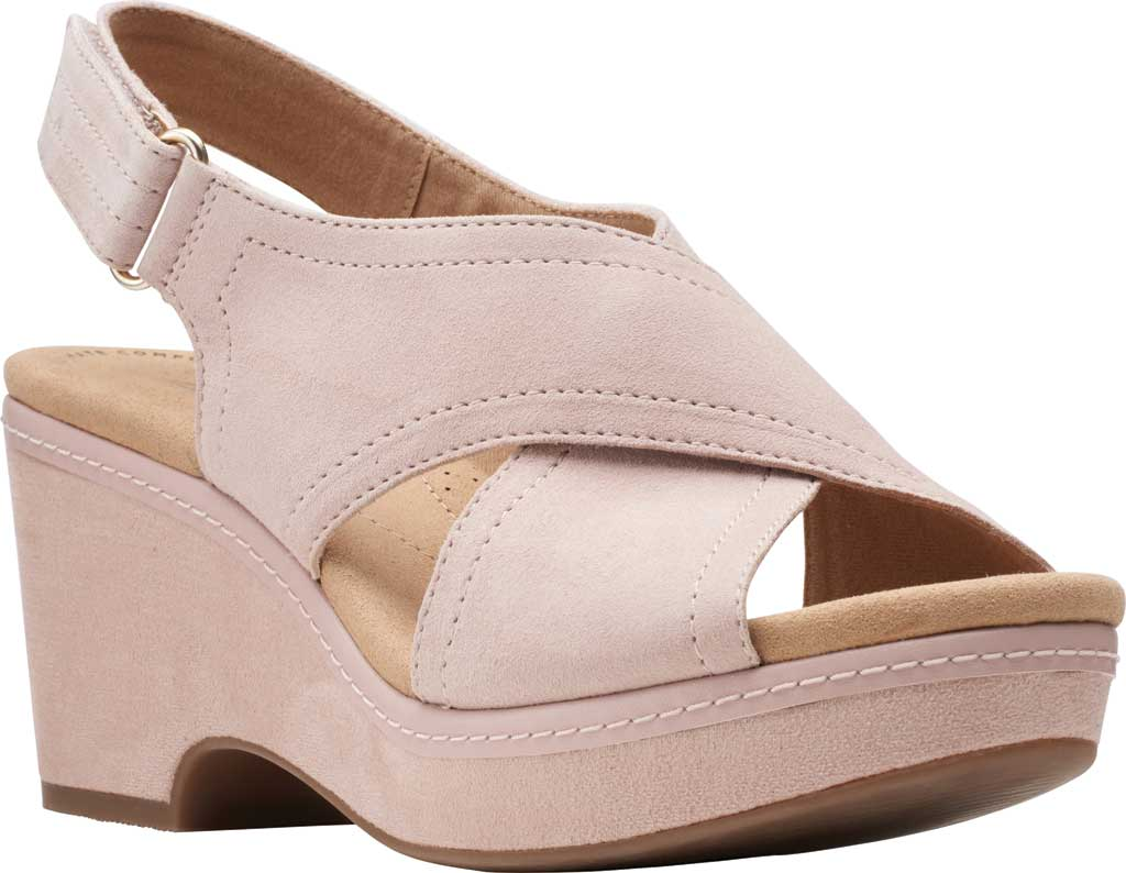 Women's Clarks Giselle Cove Wedge Slingback Sandal, Dusty Rose Suede, large, image 1