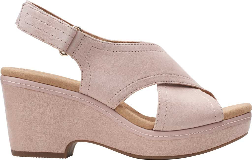 Women's Clarks Giselle Cove Wedge Slingback Sandal, Dusty Rose Suede, large, image 2