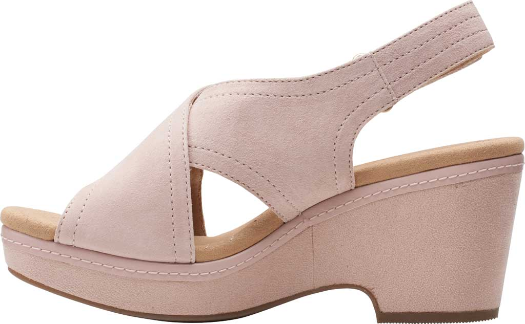 Women's Clarks Giselle Cove Wedge Slingback Sandal, Dusty Rose Suede, large, image 3