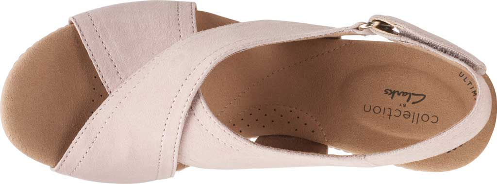 Women's Clarks Giselle Cove Wedge Slingback Sandal, Dusty Rose Suede, large, image 5