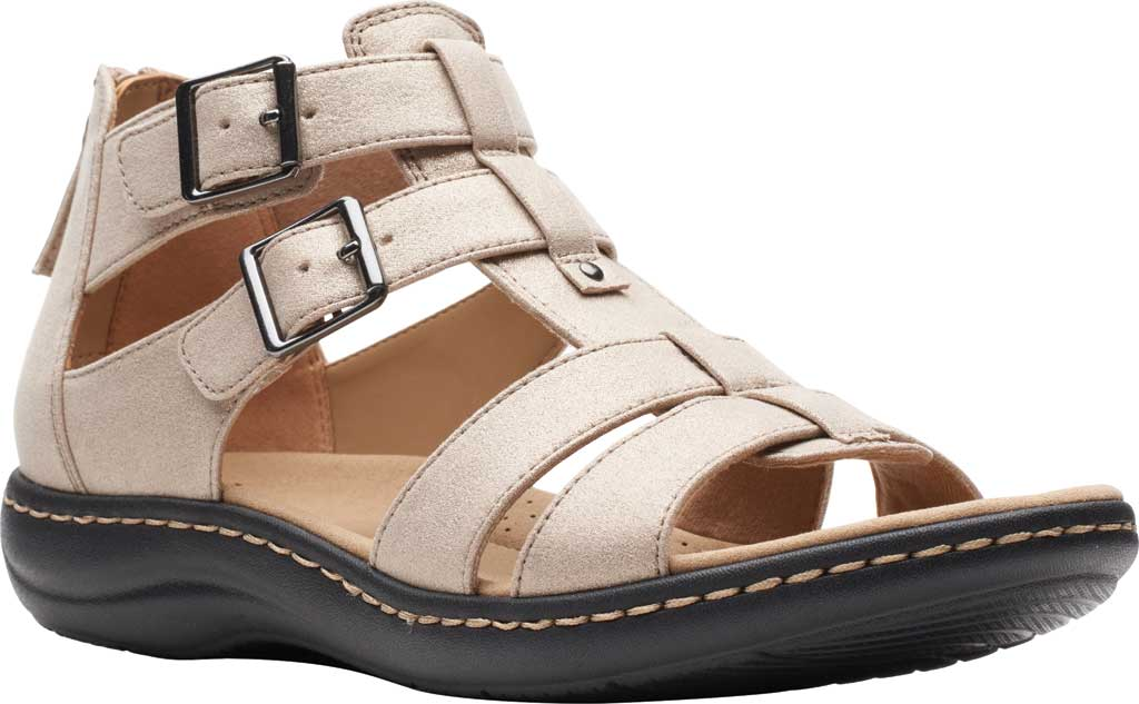 Women's Clarks Laurieann Remi Strappy Sandal, Metallic Leather, large, image 1