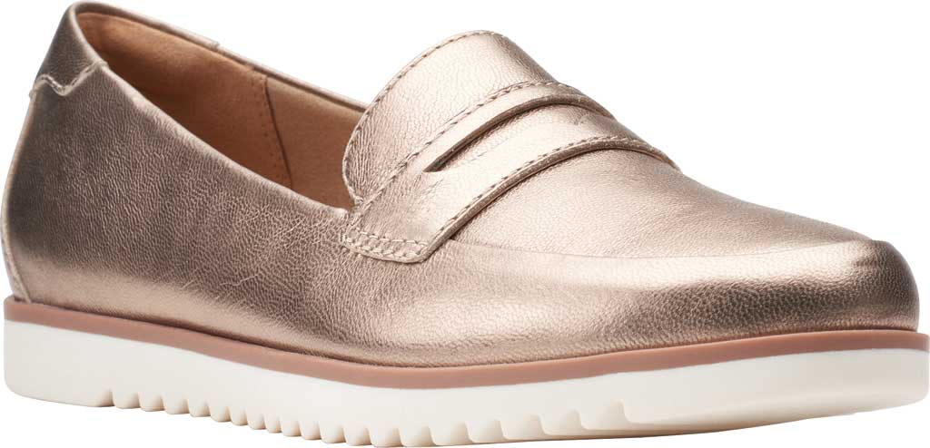 Women's Clarks Serena Terri Penny Loafer, Metallic Leather, large, image 1