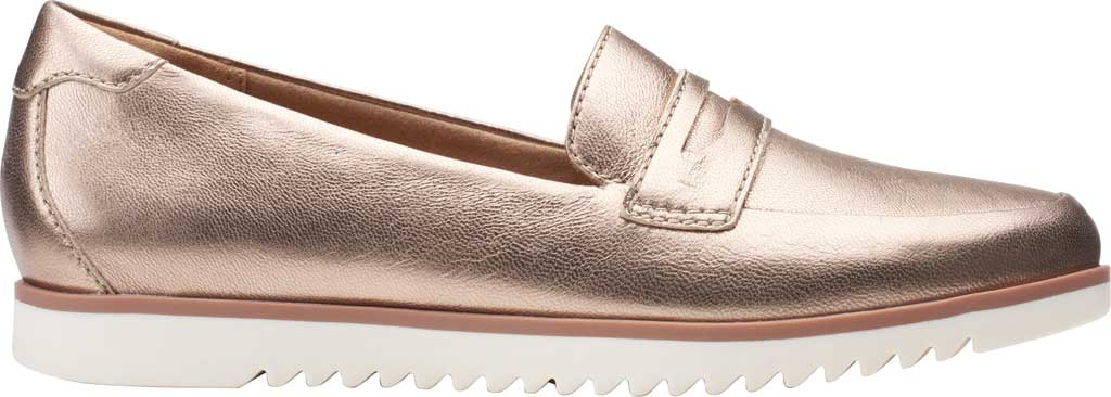 Women's Clarks Serena Terri Penny Loafer, Metallic Leather, large, image 2
