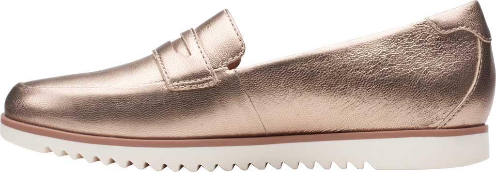 Women's Clarks Serena Terri Penny Loafer, Metallic Leather, large, image 3