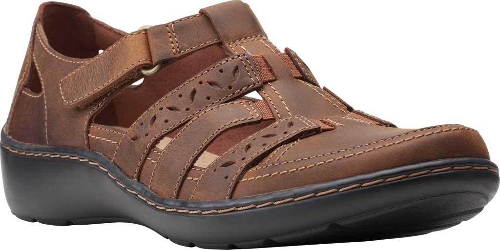 Women's Clarks Cora River Fisherman Sandal, Dark Tan Leather, large, image 1