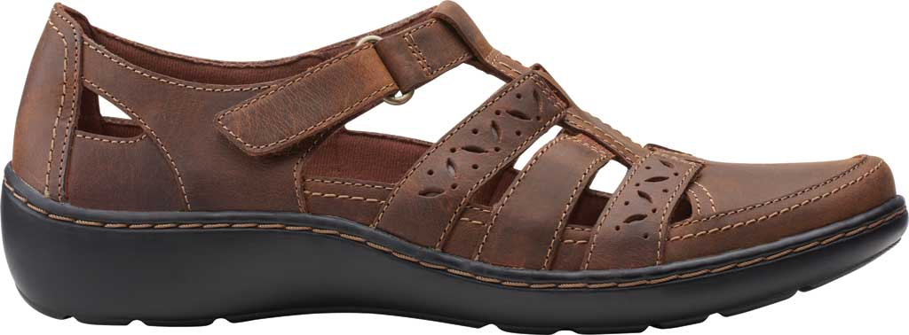 Women's Clarks Cora River Fisherman Sandal, Dark Tan Leather, large, image 2
