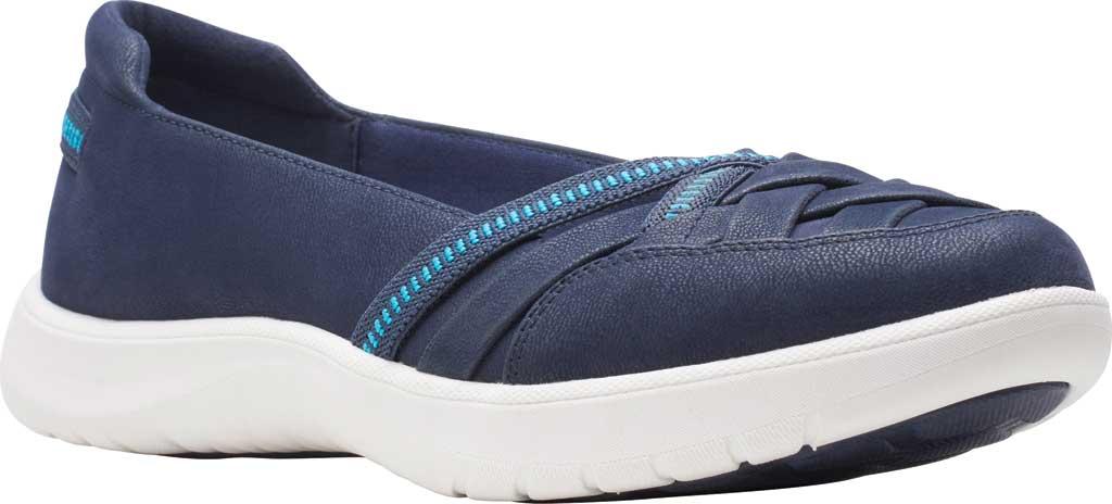 Women's Clarks Adella Poppy Slip On Sneaker, Navy Textile, large, image 1
