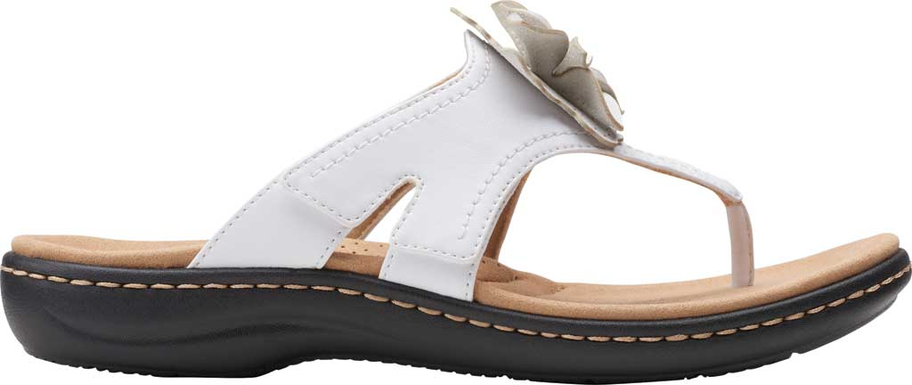 Women's Clarks Laurieann Gema Thong Sandal, White Leather, large, image 2
