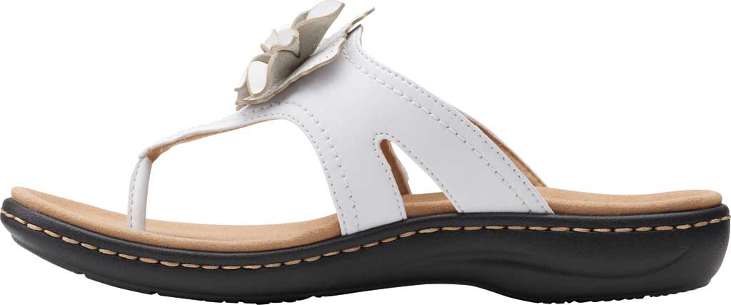 Women's Clarks Laurieann Gema Thong Sandal, White Leather, large, image 3