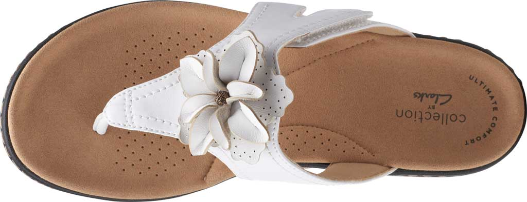 Women's Clarks Laurieann Gema Thong Sandal, White Leather, large, image 5