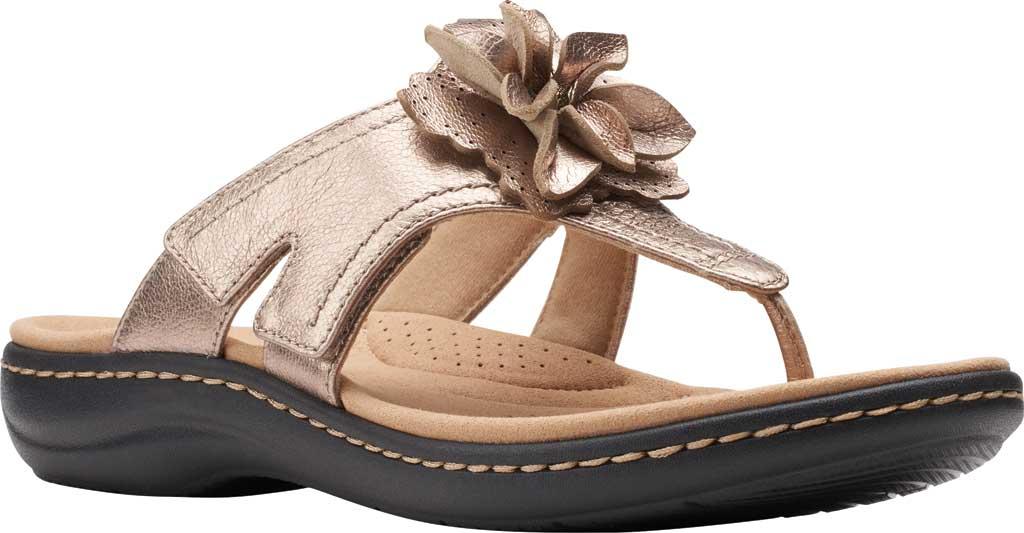 Women's Clarks Laurieann Gema Thong Sandal, Metallic Leather, large, image 1