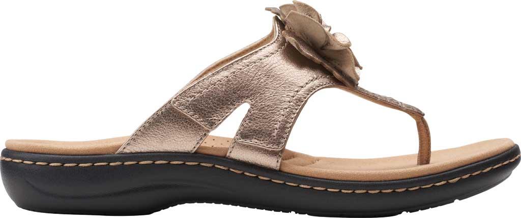 Women's Clarks Laurieann Gema Thong Sandal, Metallic Leather, large, image 2