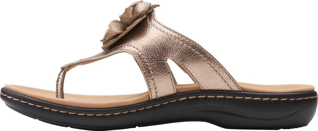 Women's Clarks Laurieann Gema Thong Sandal, Metallic Leather, large, image 3