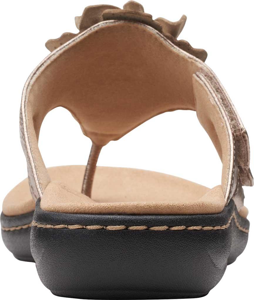 Women's Clarks Laurieann Gema Thong Sandal, Metallic Leather, large, image 4