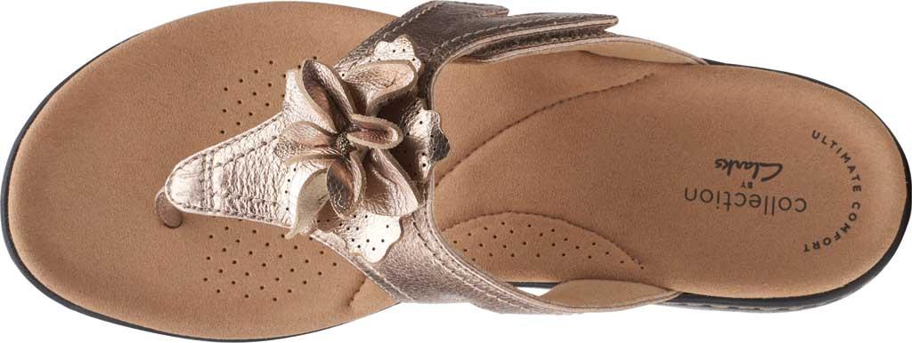 Women's Clarks Laurieann Gema Thong Sandal, Metallic Leather, large, image 5