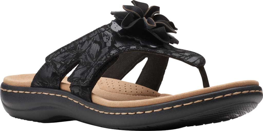 Women's Clarks Laurieann Gema Thong Sandal, Black Leather/Synthetic Combination, large, image 1