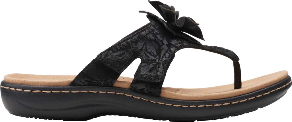 Women's Clarks Laurieann Gema Thong Sandal, Black Leather/Synthetic Combination, large, image 2