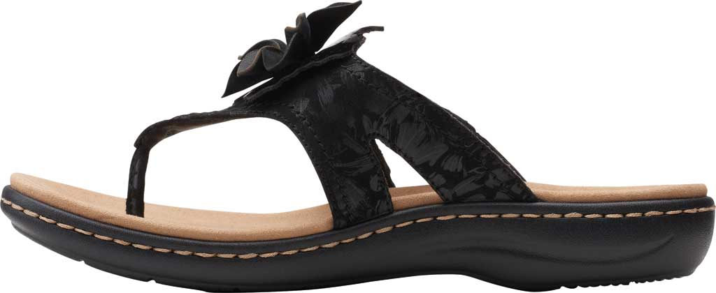 Women's Clarks Laurieann Gema Thong Sandal, Black Leather/Synthetic Combination, large, image 3