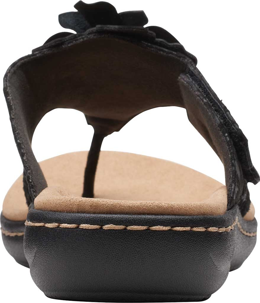 Women's Clarks Laurieann Gema Thong Sandal, Black Leather/Synthetic Combination, large, image 4