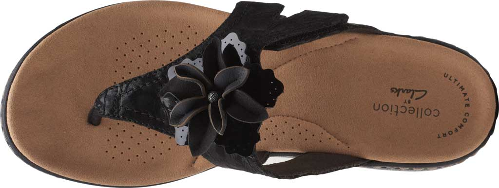 Women's Clarks Laurieann Gema Thong Sandal, Black Leather/Synthetic Combination, large, image 5