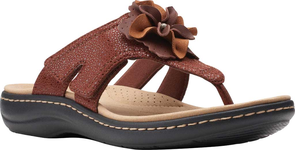 Women's Clarks Laurieann Gema Thong Sandal, Brown Leather/Synthetic Combination, large, image 1