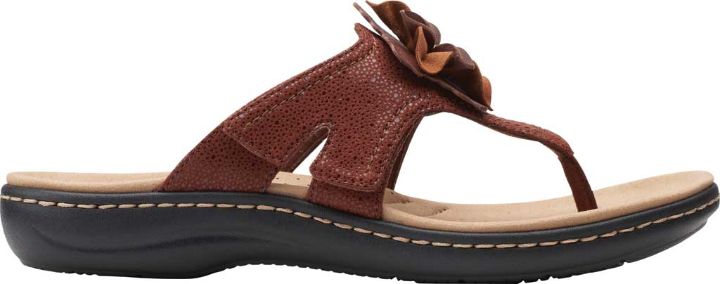 Women's Clarks Laurieann Gema Thong Sandal, Brown Leather/Synthetic Combination, large, image 2