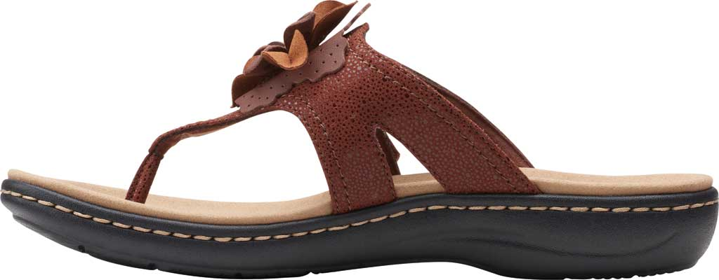 Women's Clarks Laurieann Gema Thong Sandal, Brown Leather/Synthetic Combination, large, image 3
