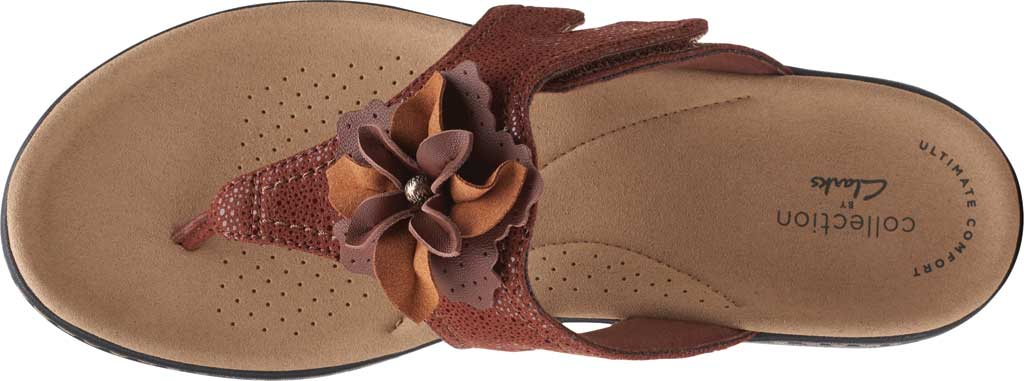 Women's Clarks Laurieann Gema Thong Sandal, Brown Leather/Synthetic Combination, large, image 5