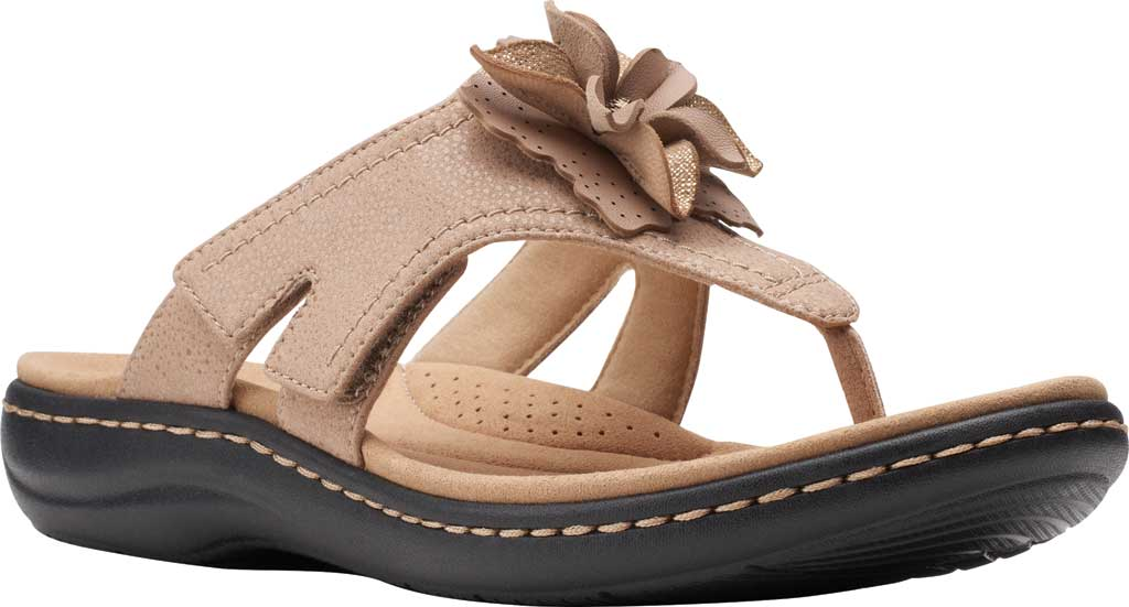 Women's Clarks Laurieann Gema Thong Sandal, Sand Leather/Synthetic Combination, large, image 1