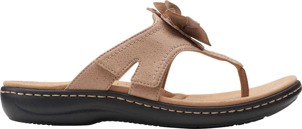 Women's Clarks Laurieann Gema Thong Sandal, Sand Leather/Synthetic Combination, large, image 2