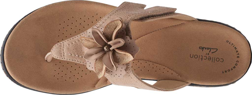 Women's Clarks Laurieann Gema Thong Sandal, Sand Leather/Synthetic Combination, large, image 5