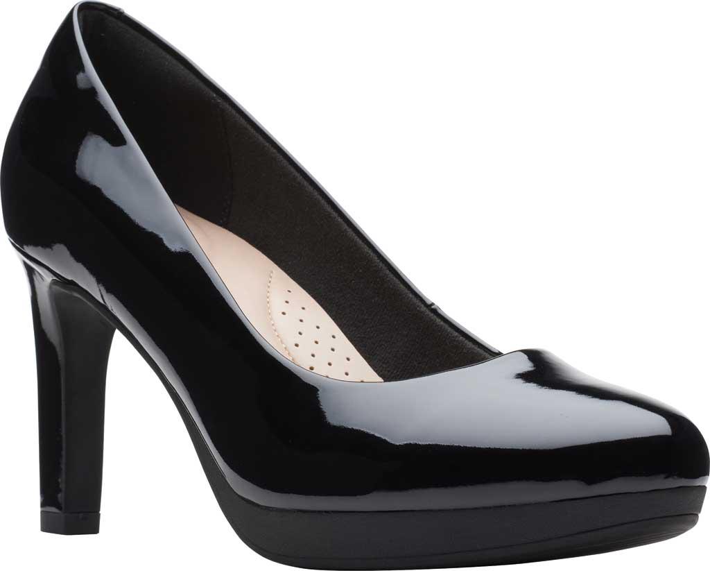 Women's Clarks Ambyr Joy High Heel Pump, Black Patent Synthetic, large, image 1