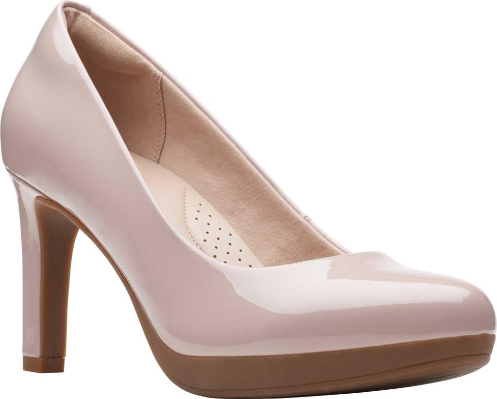 Women's Clarks Ambyr Joy High Heel Pump, Dusty Rose Patent Synthetic, large, image 1