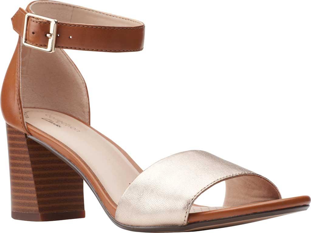 Women's Clarks Jocelynne Cam Ankle Strap Heeled Sandal, Metallic/Tan Leather Combination, large, image 1