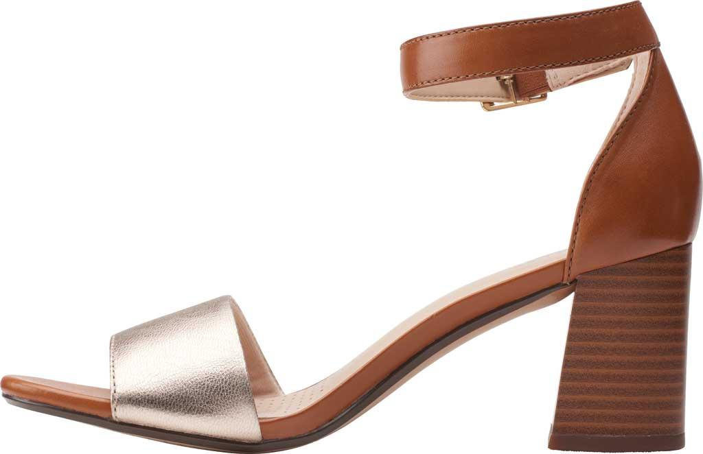 Women's Clarks Jocelynne Cam Ankle Strap Heeled Sandal, Metallic/Tan Leather Combination, large, image 3