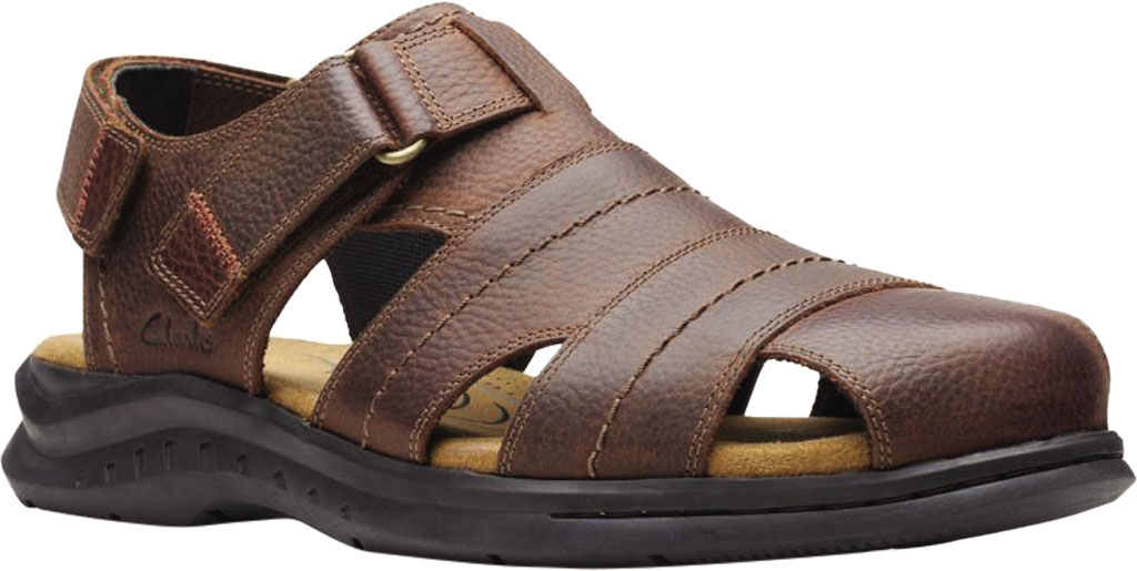 Men's Clarks Hapsford Cove Fisherman Sandal, Brown Tumbled Leather, large, image 1