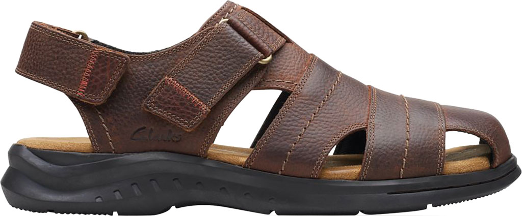 Men's Clarks Hapsford Cove Fisherman Sandal, Brown Tumbled Leather, large, image 2