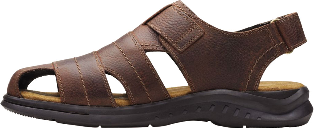 Men's Clarks Hapsford Cove Fisherman Sandal, Brown Tumbled Leather, large, image 3