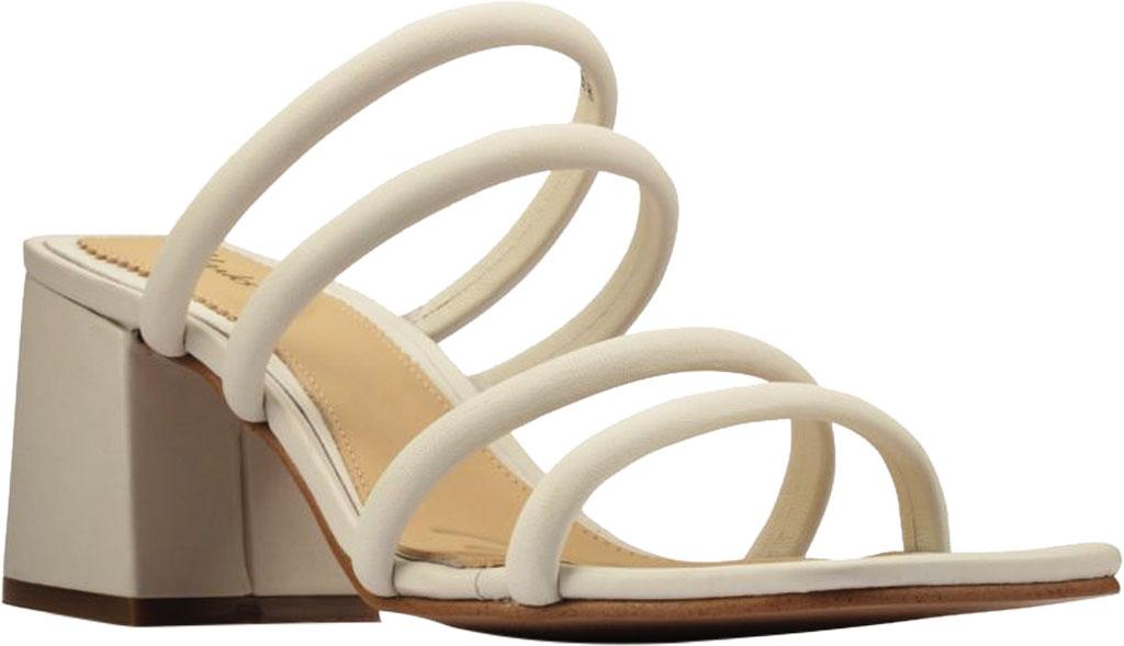 Women's Clarks Sheer65 Heeled Slide, White Leather, large, image 1