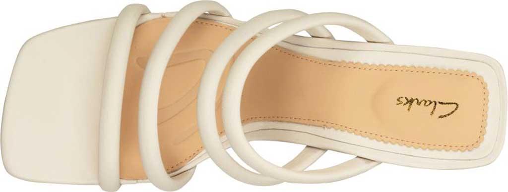 Women's Clarks Sheer65 Heeled Slide, White Leather, large, image 5