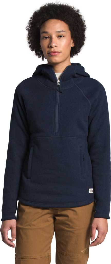 Women's The North Face Crescent Hooded 1/2 Zip Pullover, Aviator Navy/Black Heather, large, image 1