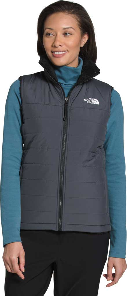 Women's The North Face Mossbud Insulated Reversible Quilted Vest, Vanadis Grey/TNF Black, large, image 1