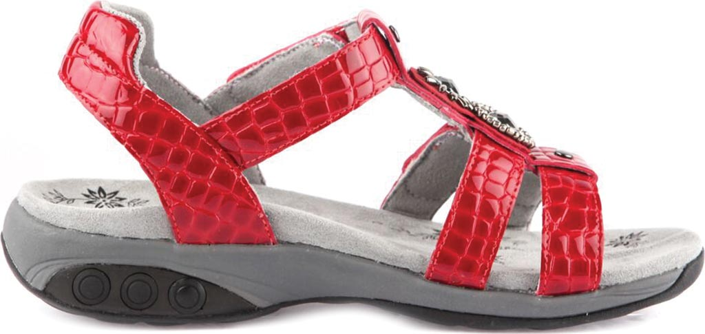 Women's Therafit Charlotte T Strap Sandal, Red Leather, large, image 2