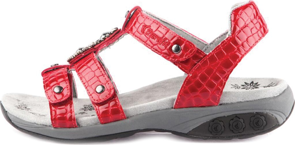 Women's Therafit Charlotte T Strap Sandal, Red Leather, large, image 3
