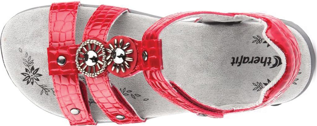 Women's Therafit Charlotte T Strap Sandal, Red Leather, large, image 4