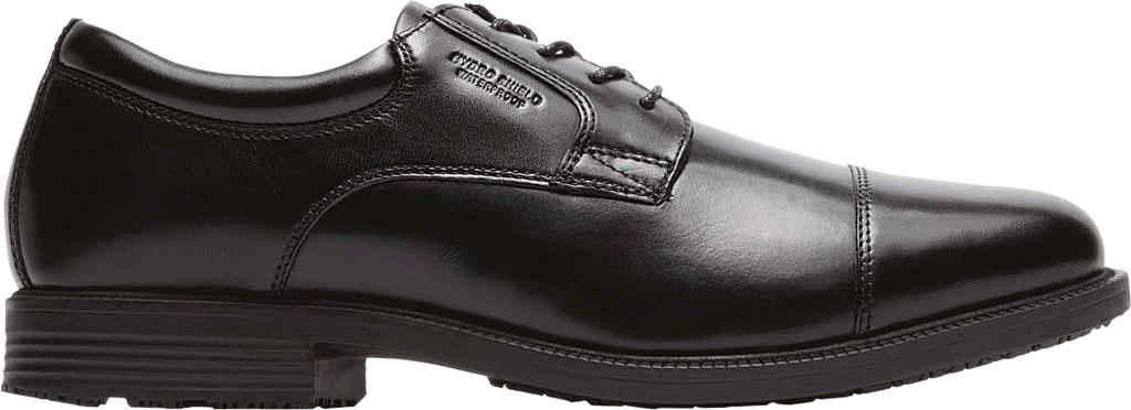 Men's Rockport Essential Details Waterproof Cap Toe, Black Leather, large, image 2